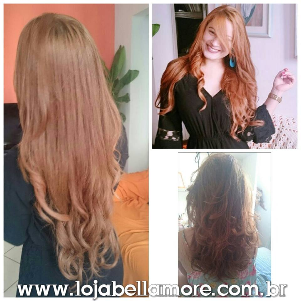 Mega Hair de Tela Ruivo 160g Cabelos Humanos Naturais Liso