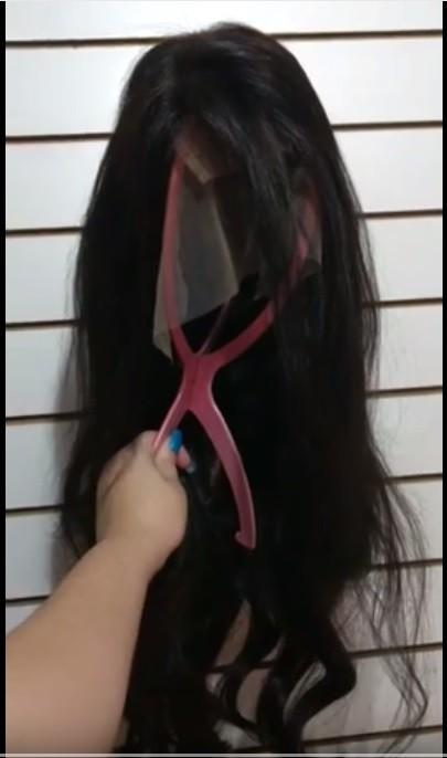 Peruca Front Lace 50cm Castanho Escuro 250g Cabelo Natural Humano