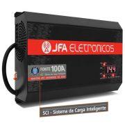 Fonte Carregador JFA 100A SCI Slim 100 Amperes Bivolt Com Voltímetro e Amperímetro