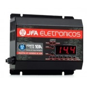 Fonte Carregador JFA 10A SCI Slim 10 Amperes Bivolt Com Voltímetro e Amperímetro
