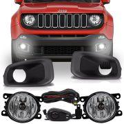 Kit Farol de Milha Auxiliar Botão Alternativo para Jeep Renegade 15 16 17 18 19