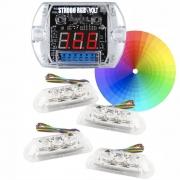 Kit Strobo Zendel Volt Mp V4 Colorido 1 Central + 4 Faróis RGB Com Voltímetro Digital Integrado