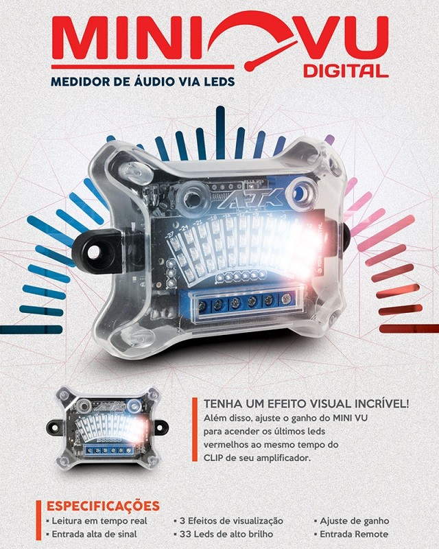 Central Mini VU AJK 3 Efeitos + Led Clip E Ssaída Para Régua VU AJK