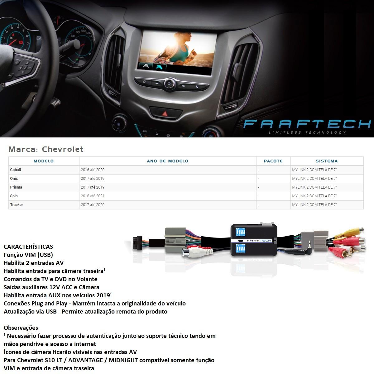 Desbloqueio de Multimídia Faaftech FT-VF-GM16 para Chevrolet GM Onix Prisma Cobalt Spin Tracker Mylink