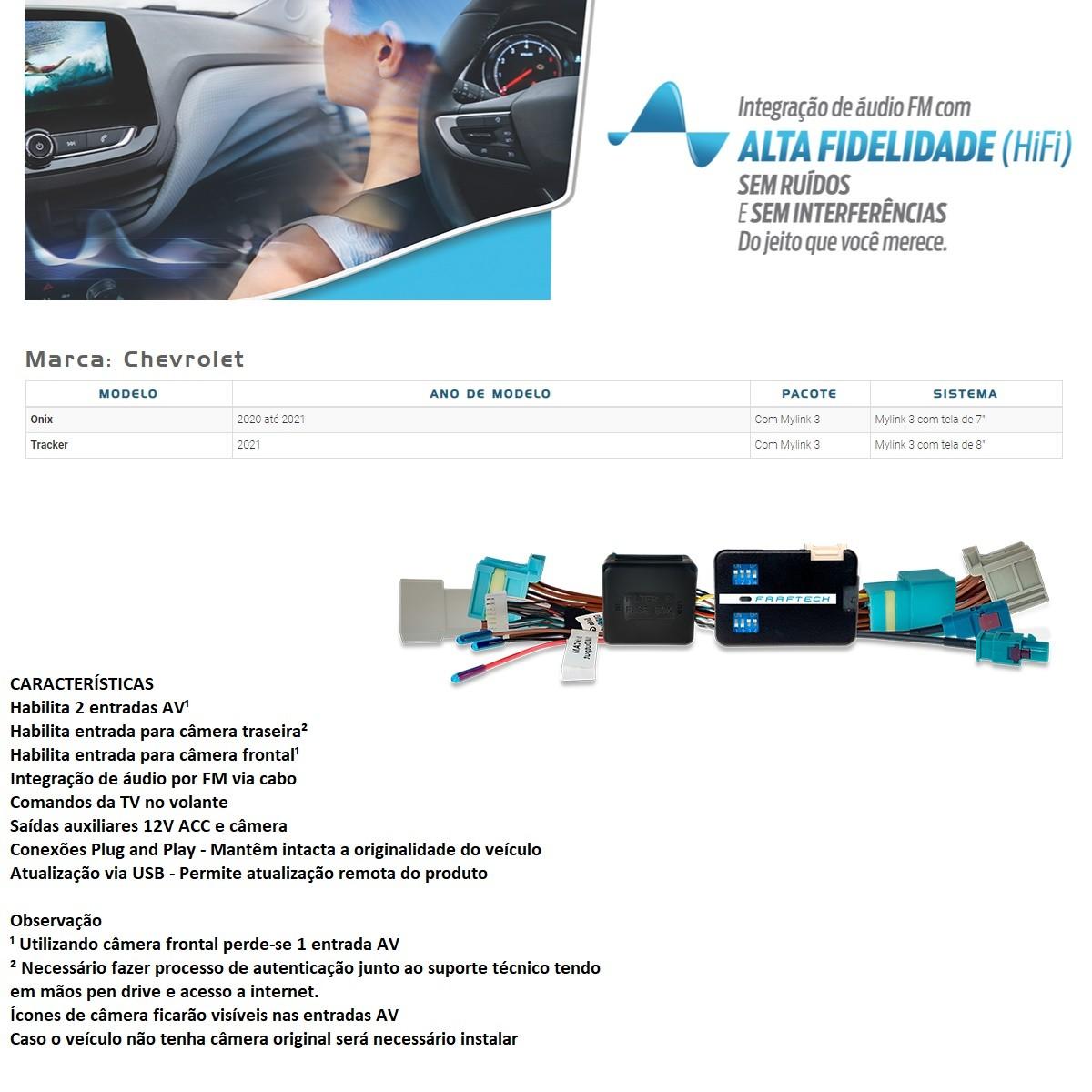 Desbloqueio de Multimídia Faaftech FT-VF-GM5 para Chevrolet GM Onix 2020 2021 e Tracker 2021 Mylink