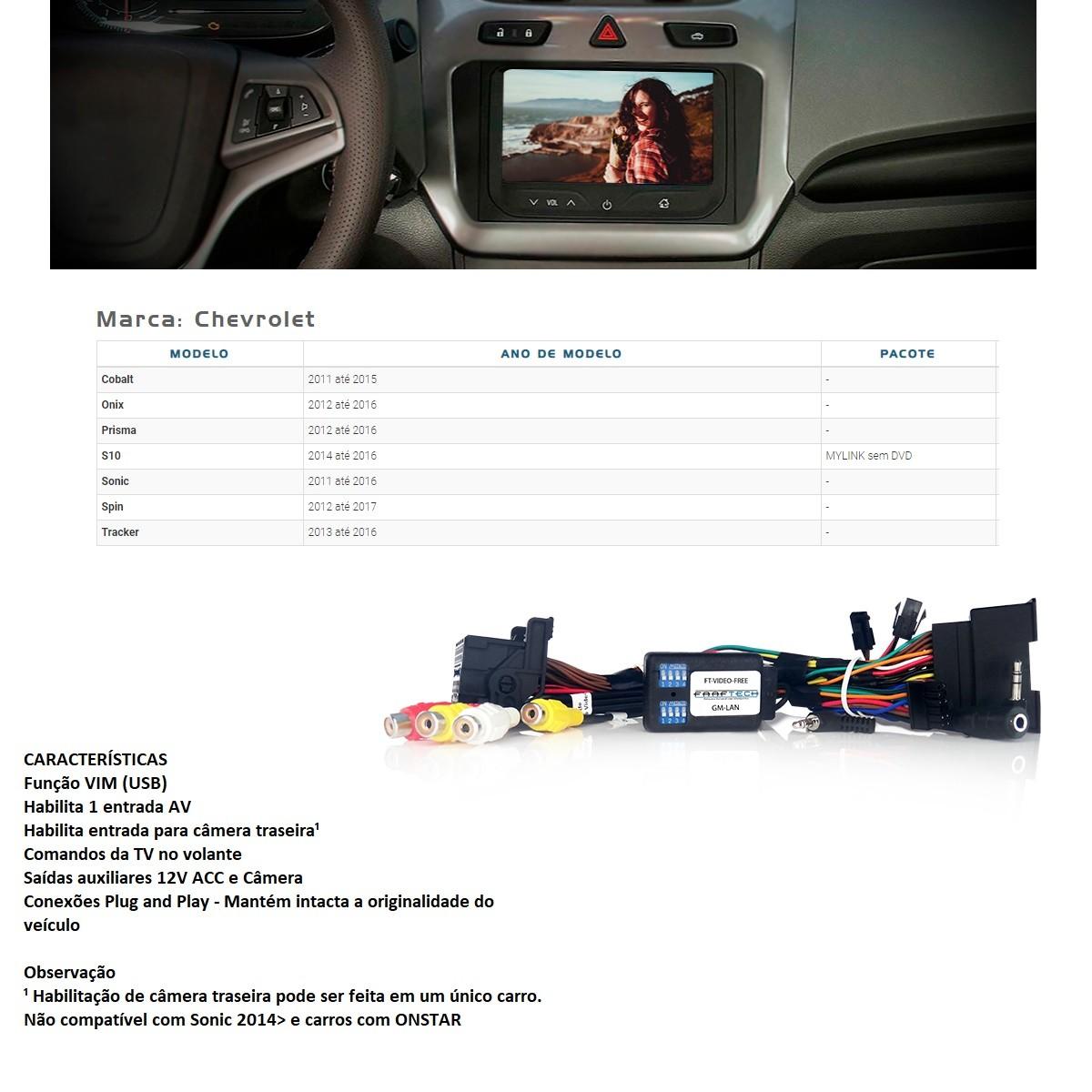 Desbloqueio de Multimídia Faaftech FT-VF-GMLAN para Chevrolet GM S10 Onix Prisma Cobalt Spin Tracker Sonic Mylink