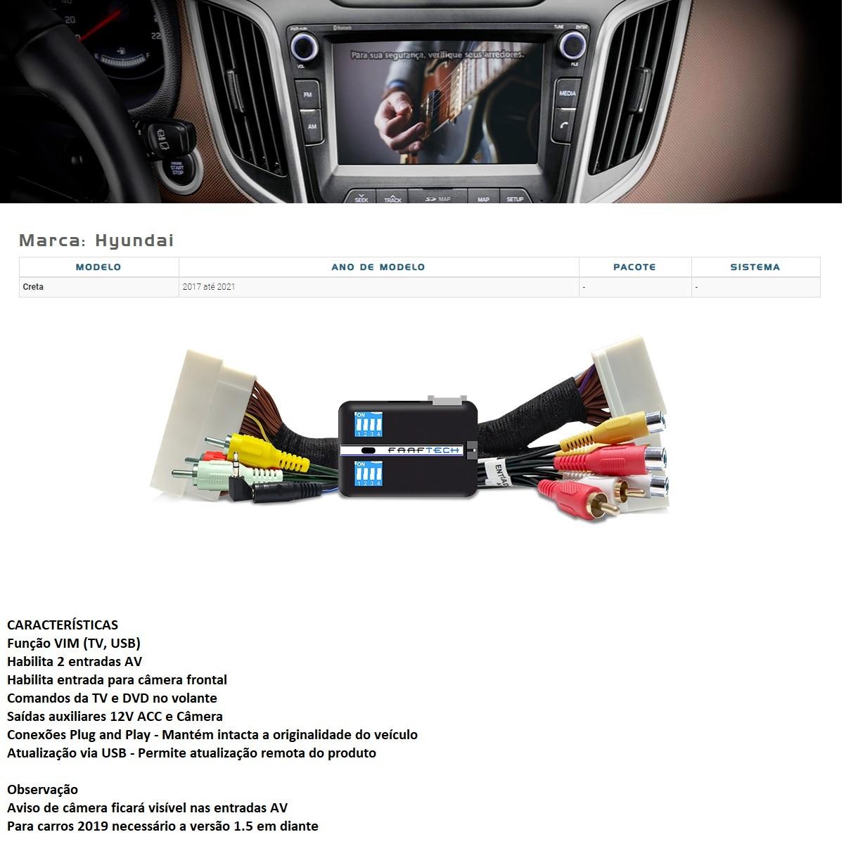 Desbloqueio de Multimídia Faaftech FT-VF-HY2 para Hyundai Creta
