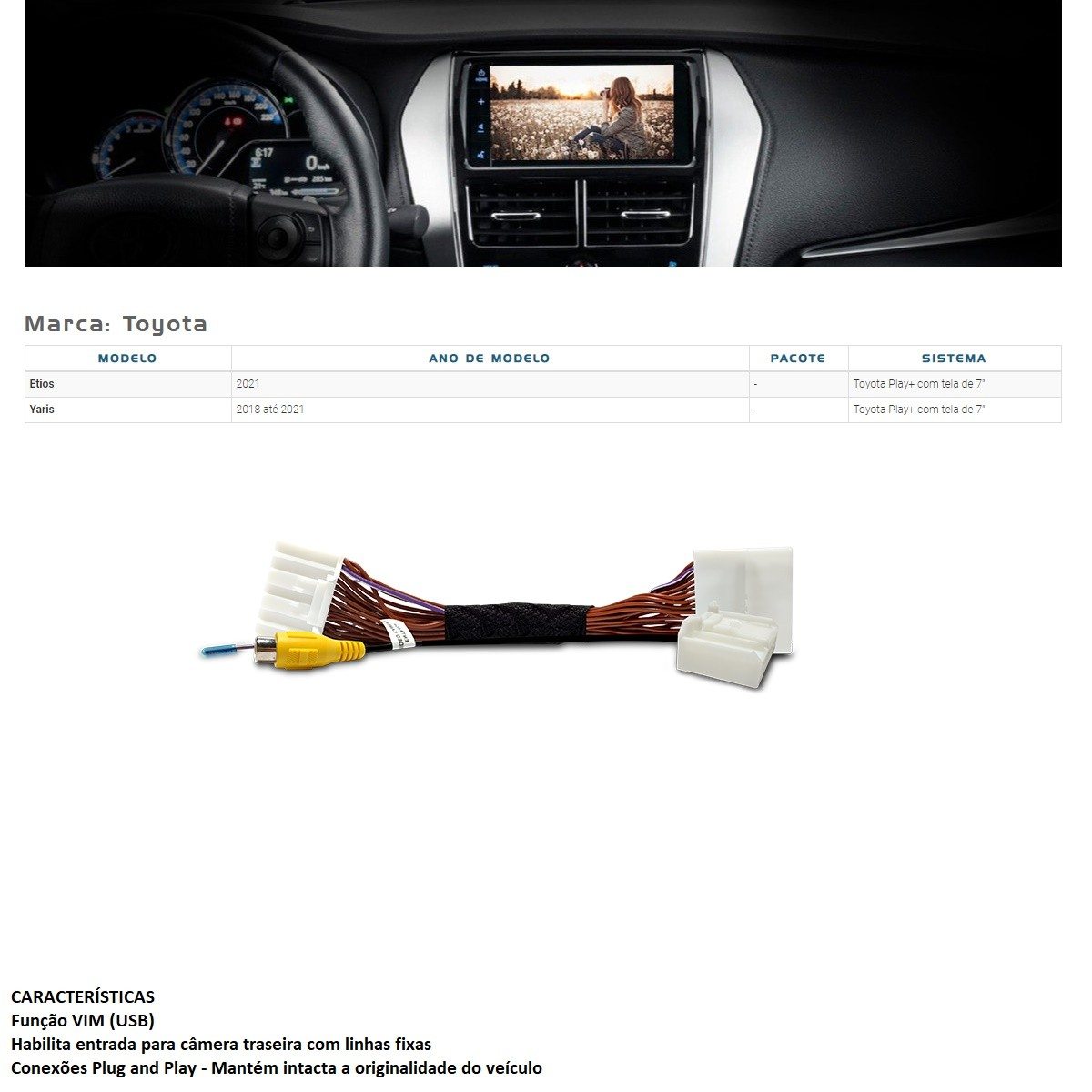 Desbloqueio de Multimídia Faaftech FT-VF-TY3 para Toyota Etios e Yaris