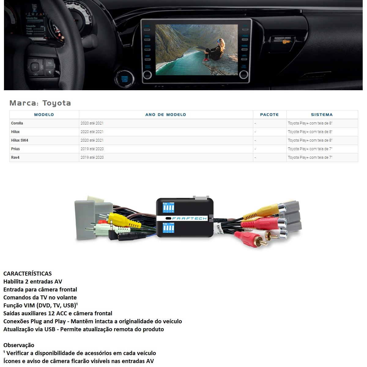 Desbloqueio de Multimídia Faaftech FT-VF-TY5 para Toyota Corolla Hilux Prius Rav4 SW4