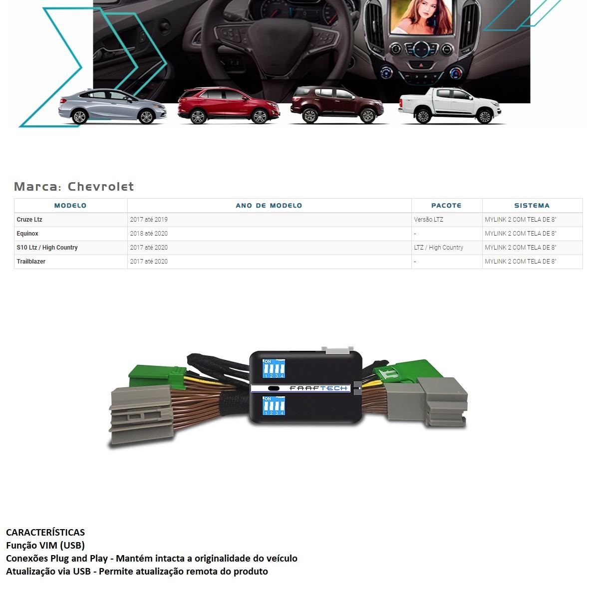 Desbloqueio de Multimídia Faaftech FT-VF-GM3 para GM Chevrolet S10 Cruze Trailblazer Equinox Mylink 2