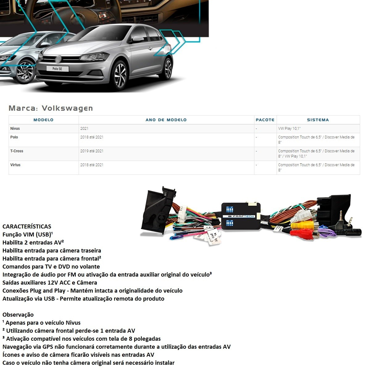 Desbloqueio de Multimídia Faaftech FT-VF-VW4 para VW Volkswagen Polo Virtus Nivus T-cross