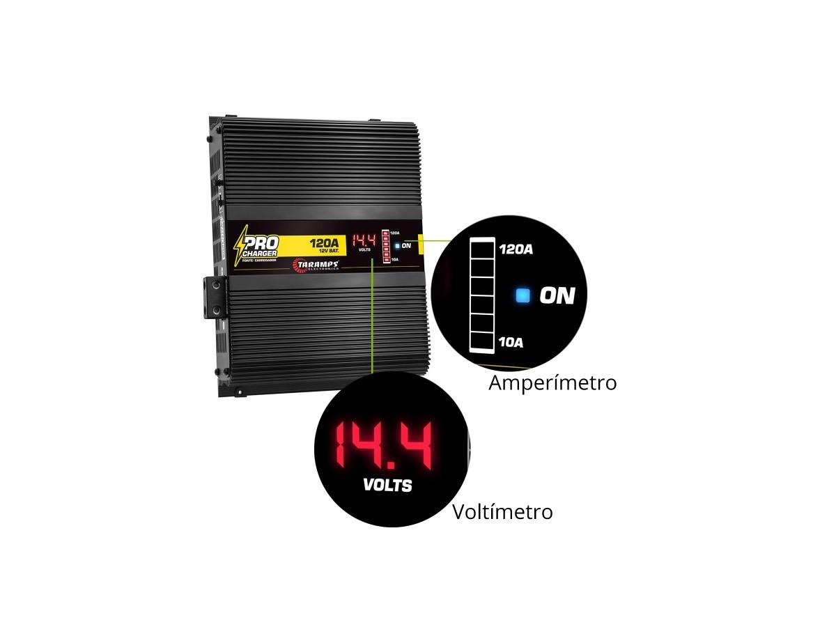 Fonte Carregador de Bateria Taramps Pro Charger 120A Bivolt com Voltímetro e Amperímetro