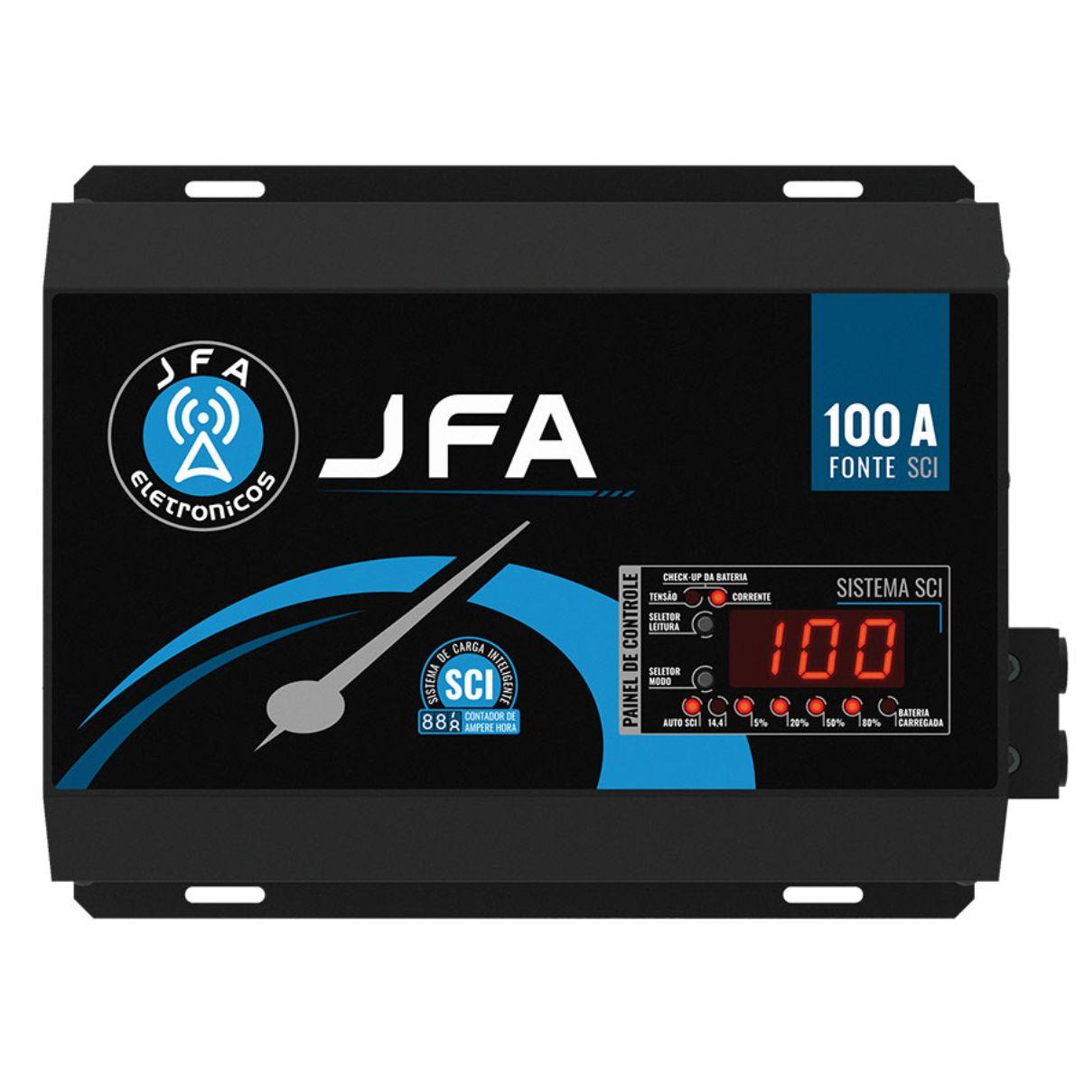 Fonte Carregador JFA 100A SCI 100 Amperes Bivolt Com Voltímetro e Amperímetro