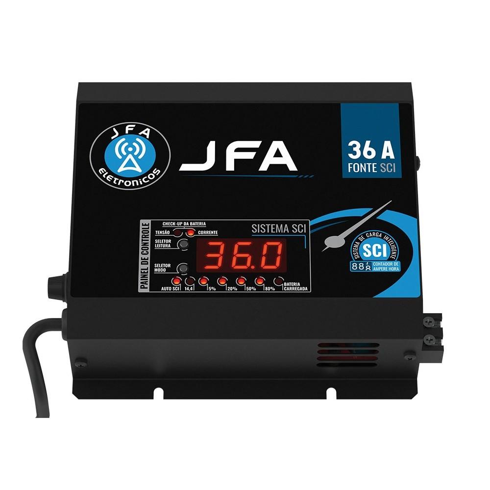 Fonte Carregador JFA 36A SCI Slim 36 Amperes Bivolt Com Voltímetro e Amperímetro