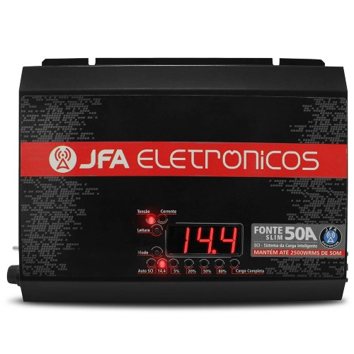 Fonte Carregador JFA 50A SCI Slim 50 Amperes Bivolt Com Voltímetro e Amperímetro