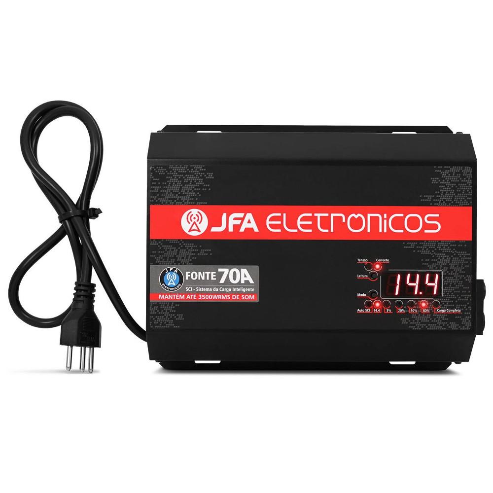 Fonte Carregador JFA 70A SCI Slim 70 Amperes Bivolt Com Voltímetro e Amperímetro