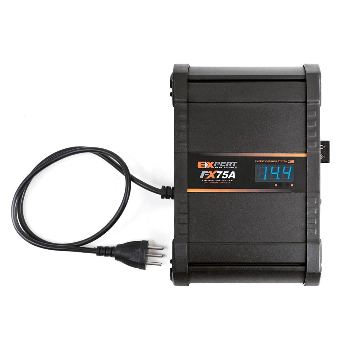 Fonte e Carregador Expert FX75A 75 Amperes 12 Volts com Voltímetro e Amperímetro Bivolt