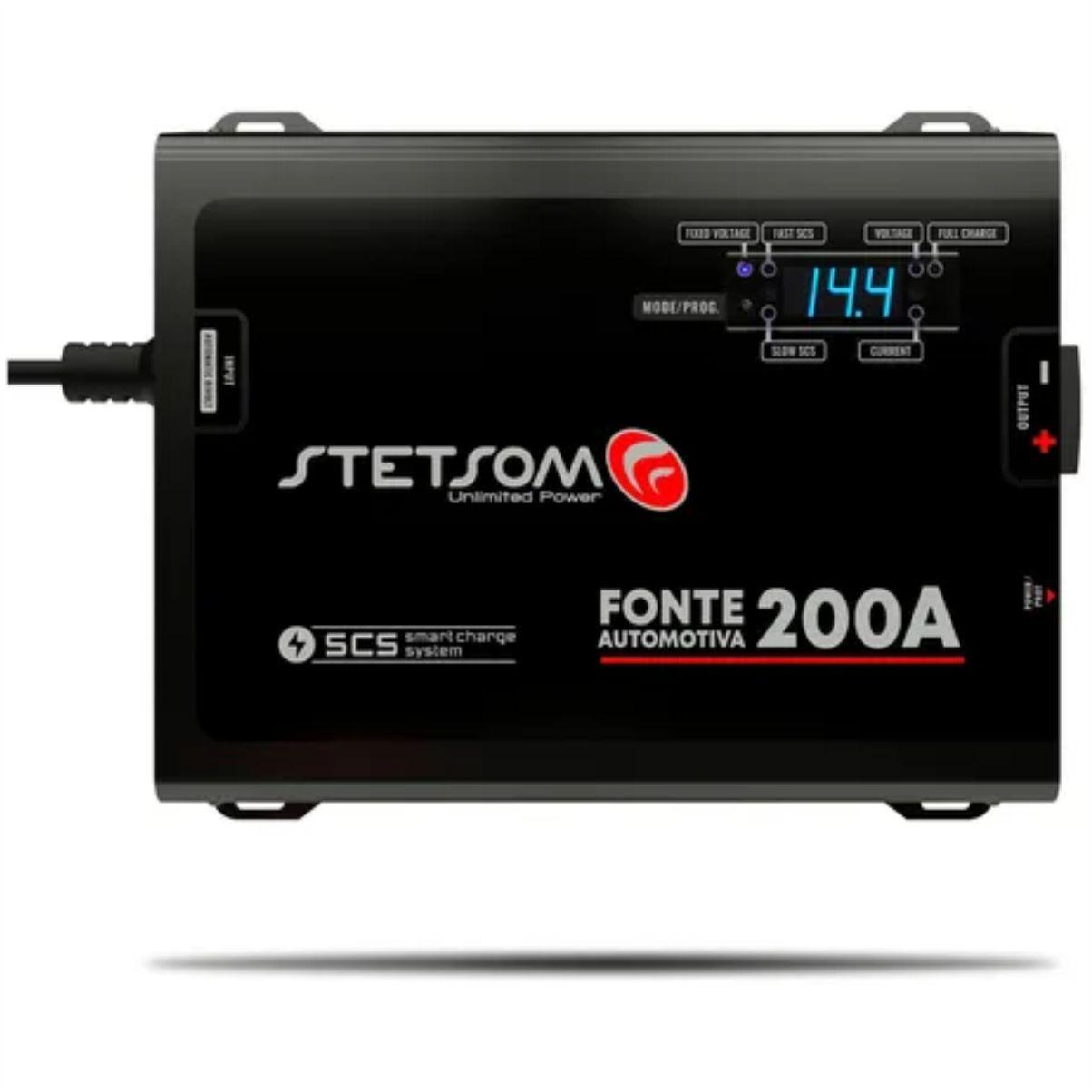 Fonte e Carregador Stetsom 200A SCS 12 Volts com Voltímetro e Amperímetro Bivolt