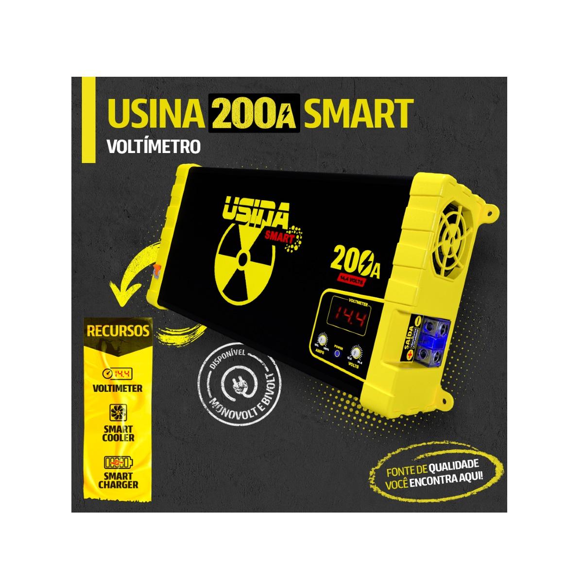 Fonte e Carregador Usina 200A Smart 12 Volts com Voltímetro e Amperímetro Bivolt