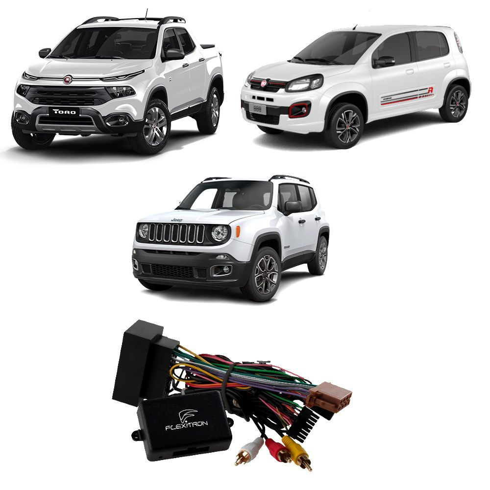Interface de Tela Flexitron para Fiat Toro 2017 em diante, Uno 2015 a 2018 e Jeep Renegade FDV FI-01
