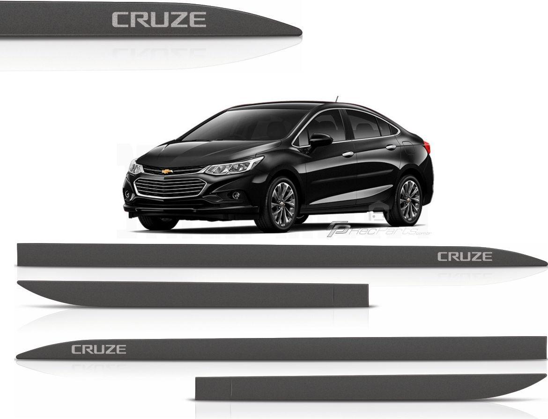 Jogo de Friso Lateral Chevrolet Cruze Hatch e Sedan Preto Ouro Negro