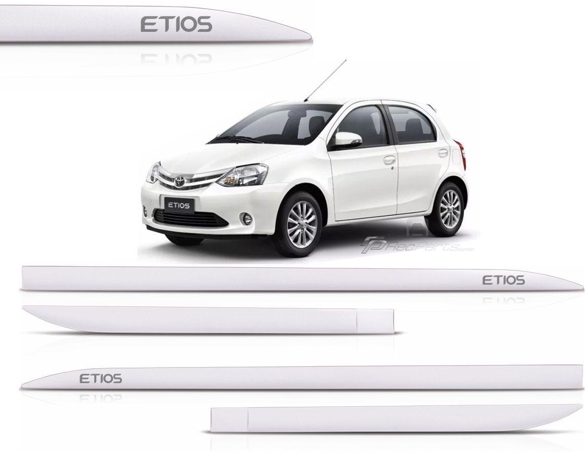 Jogo de Friso Lateral Toyota Etios Hatch Sedan Branco Perolizado