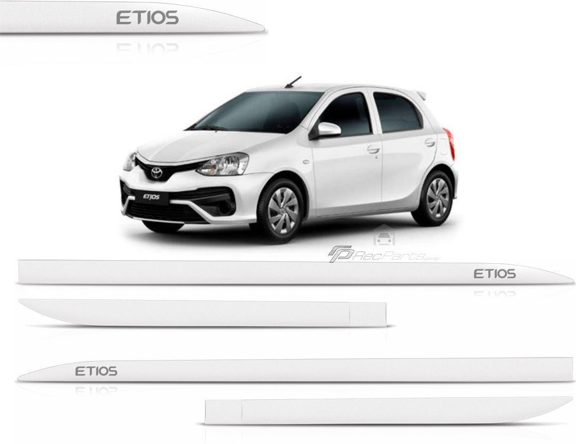 Jogo de Friso Lateral Toyota Etios Hatch Sedan Branco Polar