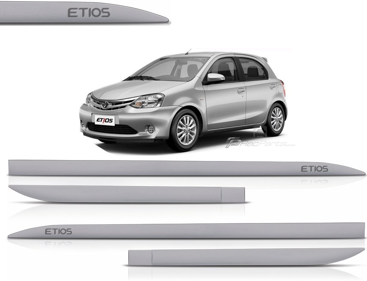 Jogo de Friso Lateral Toyota Etios Hatch Sedan Prata Lua Nova