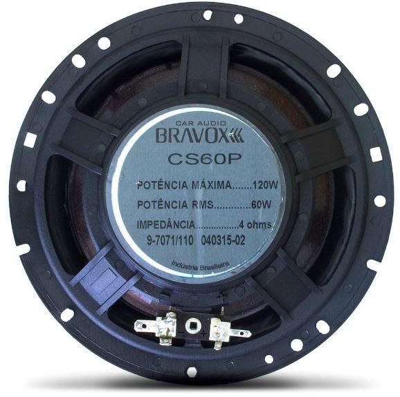 "Alto Falante Kit 2 Vias Bravox 6"" CS60P 120W Rms 4 Ohms"