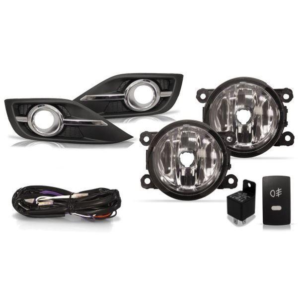 Kit Farol de Milha Auxiliar Botão Original e Moldura com Filete Cromado Suns para Honda CRV CR-V 2010 2011