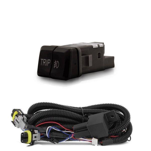 Kit Farol de Milha Auxiliar Botão Trip e Moldura preta para Hyundai HB20 12 13 14 15