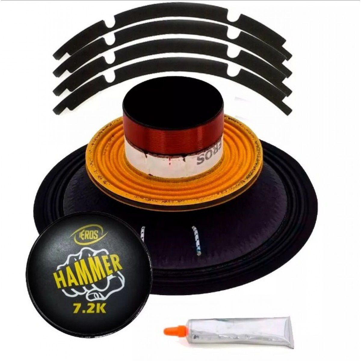 "Kit Reparo para Alto Falante Eros 12"" E12 Hammer 7.2K 3600W Rms 4 Ohms"