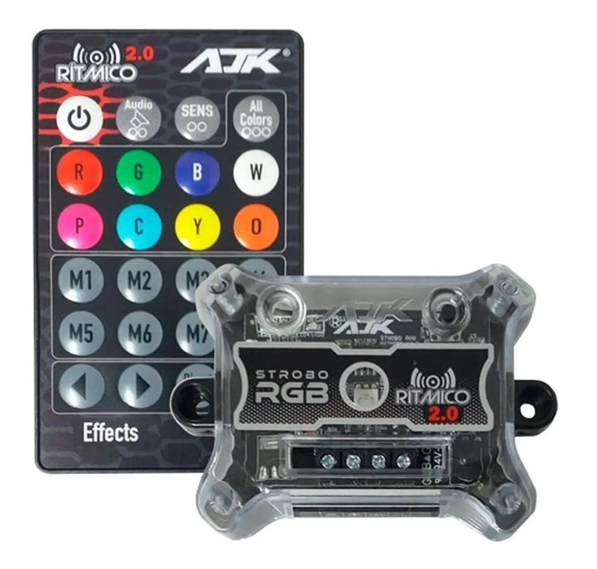 Kit Strobo AJK RGB 7 Cores Ritmico 2.0 (1 Central + 1 Controle + 2 Strobos RGB)