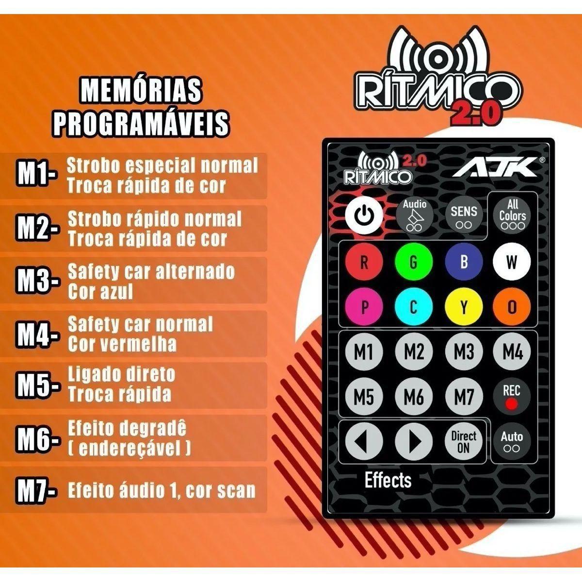 Kit Strobo AJK Ritmico Colorido 1 Central + 1 Controle + 4 Strobos RGB Novo