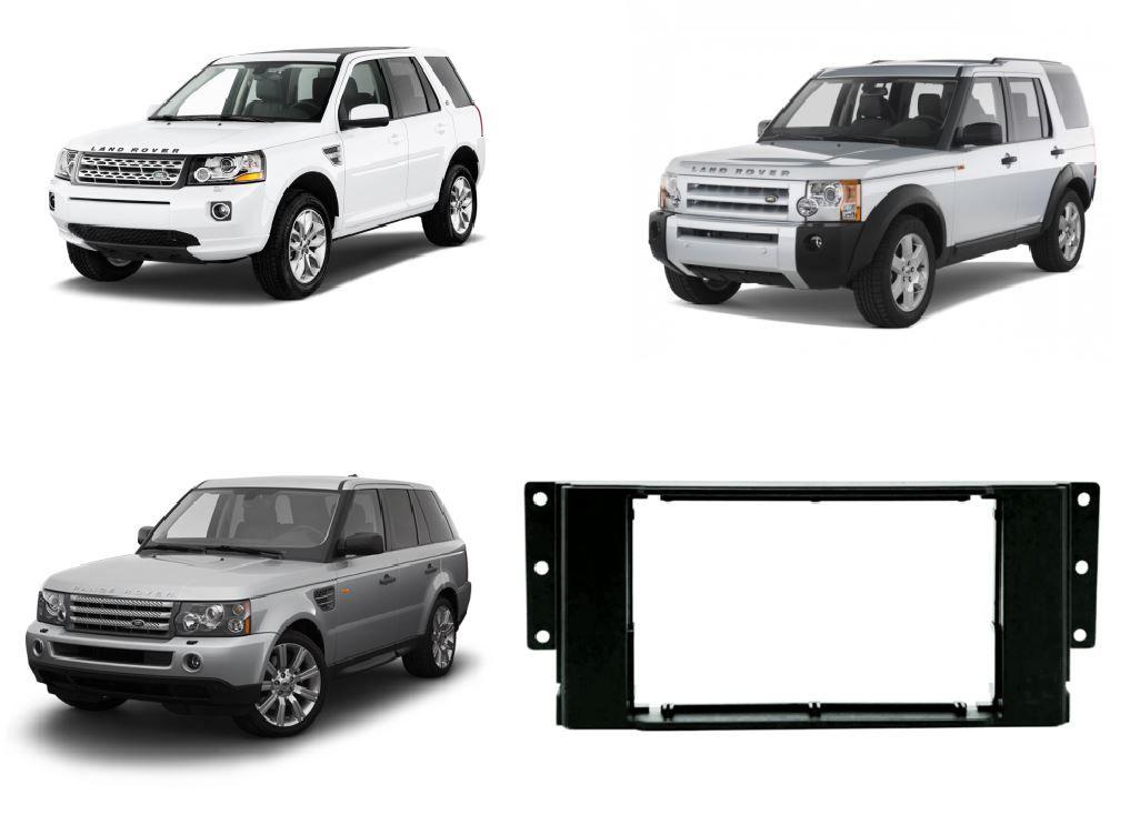 Moldura Painel 2 Din para Freelander 2, Discovery 3 e Land Rover Sport a partir de 2006 Preta EPX 229