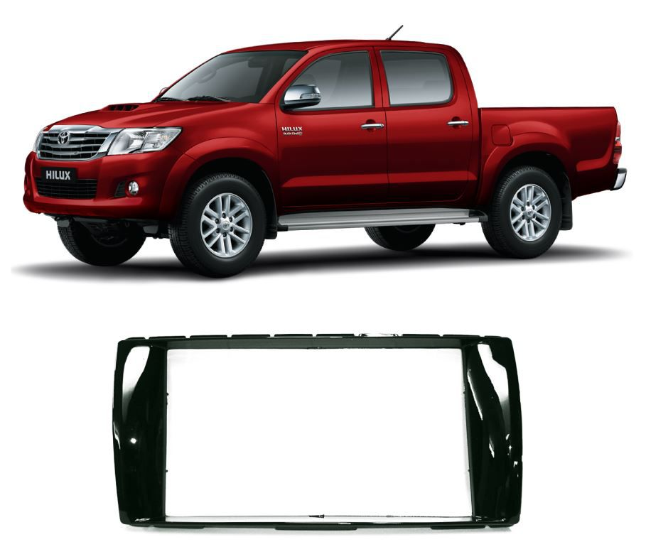 Moldura Painel 2 Din para Toyota Hilux 2012 a 2015 Black Piano EPX 342