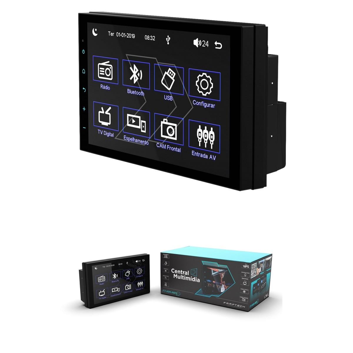 """Multimídia MP5 Faaftech Slim 7"""" FT-MM-MP5 USB Bluetooth"""