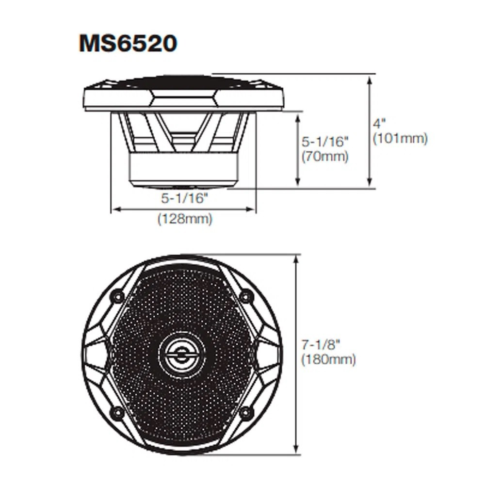 "Par de Alto Falantes Coaxial JBL 6"" Marine MS 6520 120W RMS 4 Ohms Náutico Marinizado"