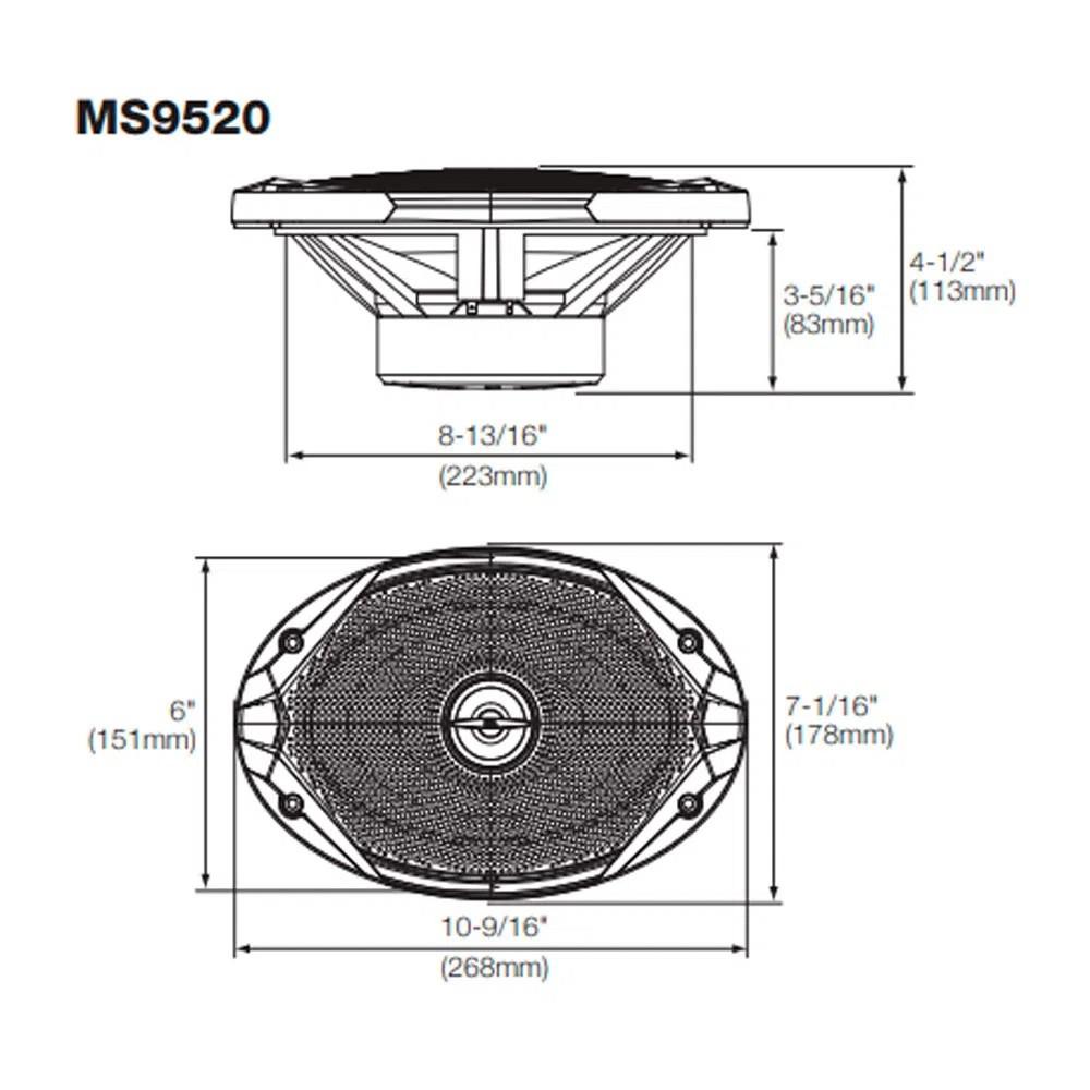 "Par de Alto Falantes Coaxial JBL 6X9"" Marine MS 9520 200W RMS 4 Ohms Náutico Marinizado"