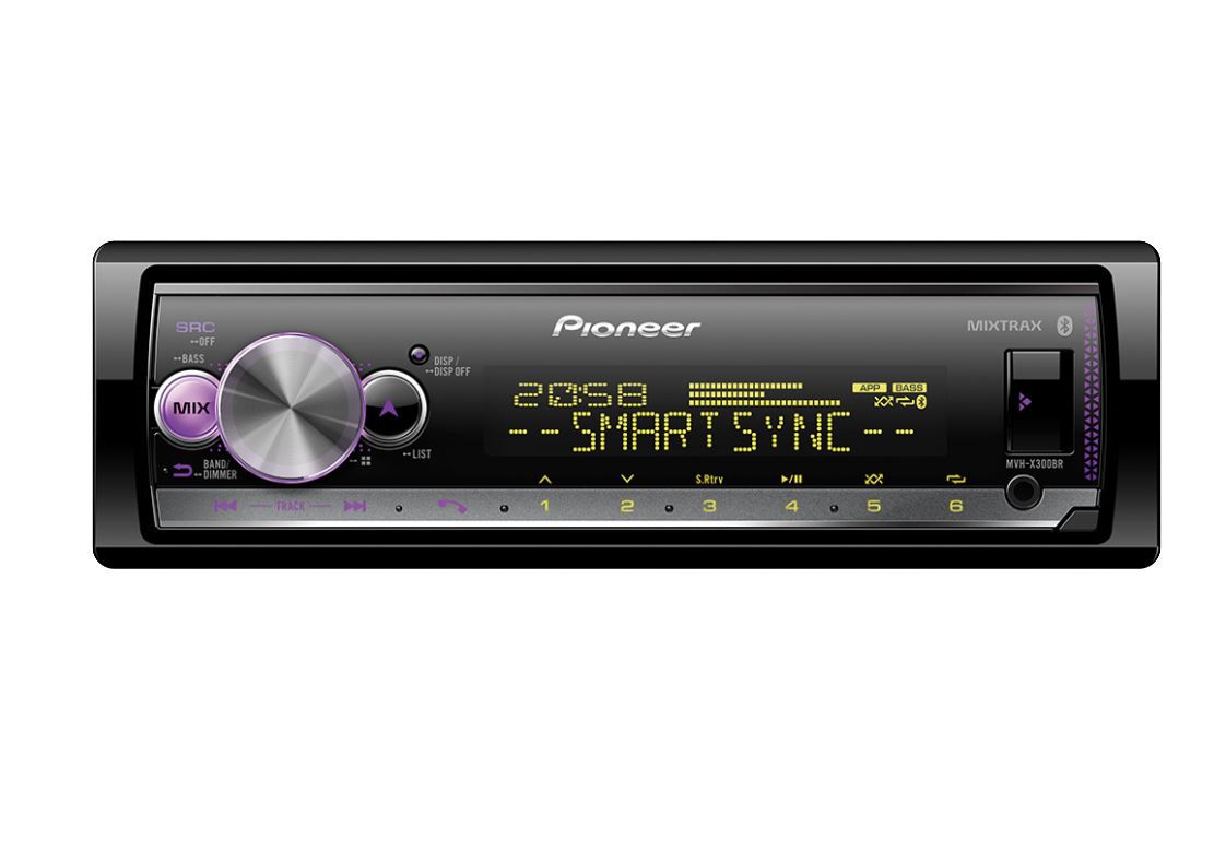 Radio Automotivo Pioneer Mp3 Player Mvh- x300br Controle Bluetooth Usb Aux Mixtrax