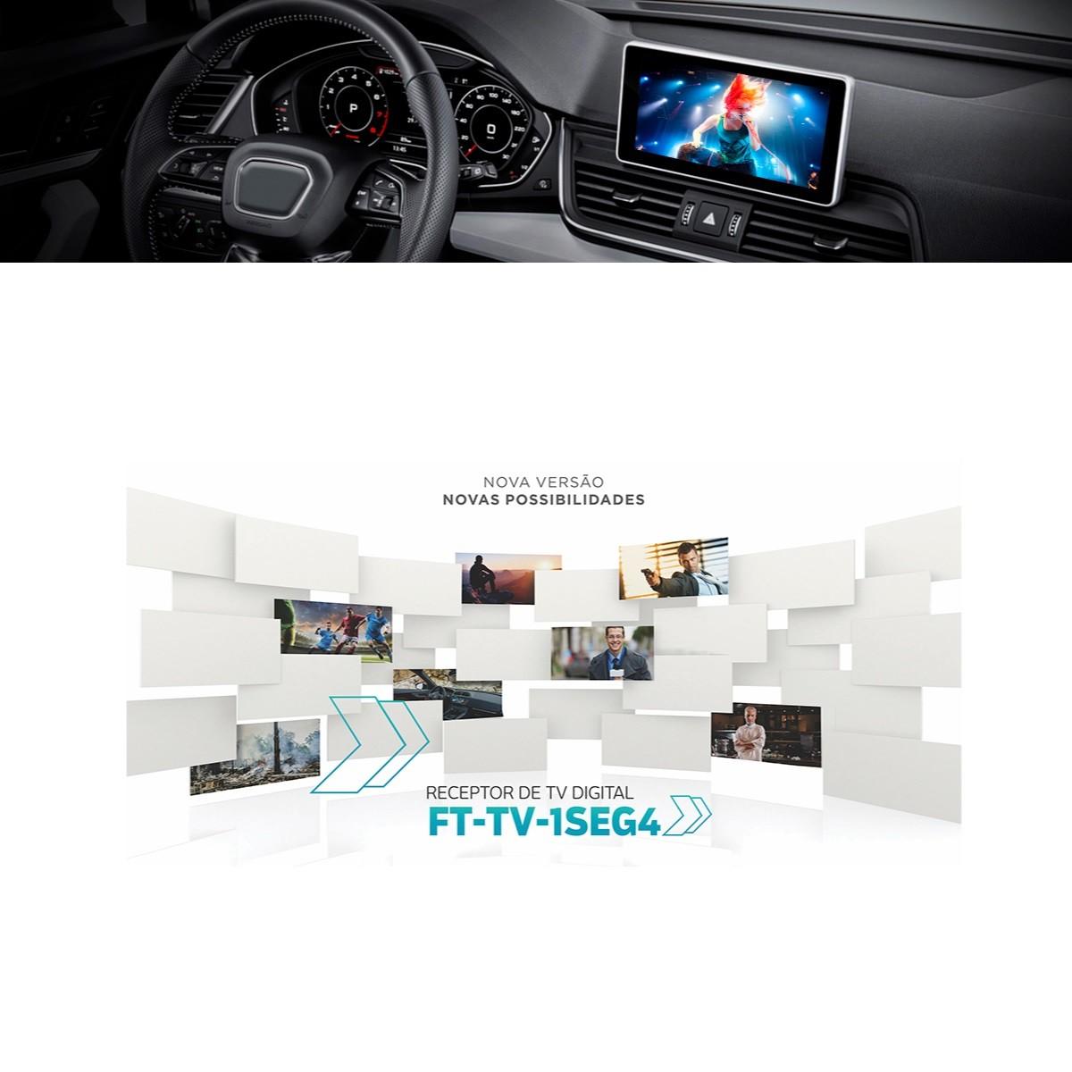 Receptor de TV Digital Automotivo Faaftech FT-TV-1SEG4 TV ISDB-T (Brasil) 1-Seg