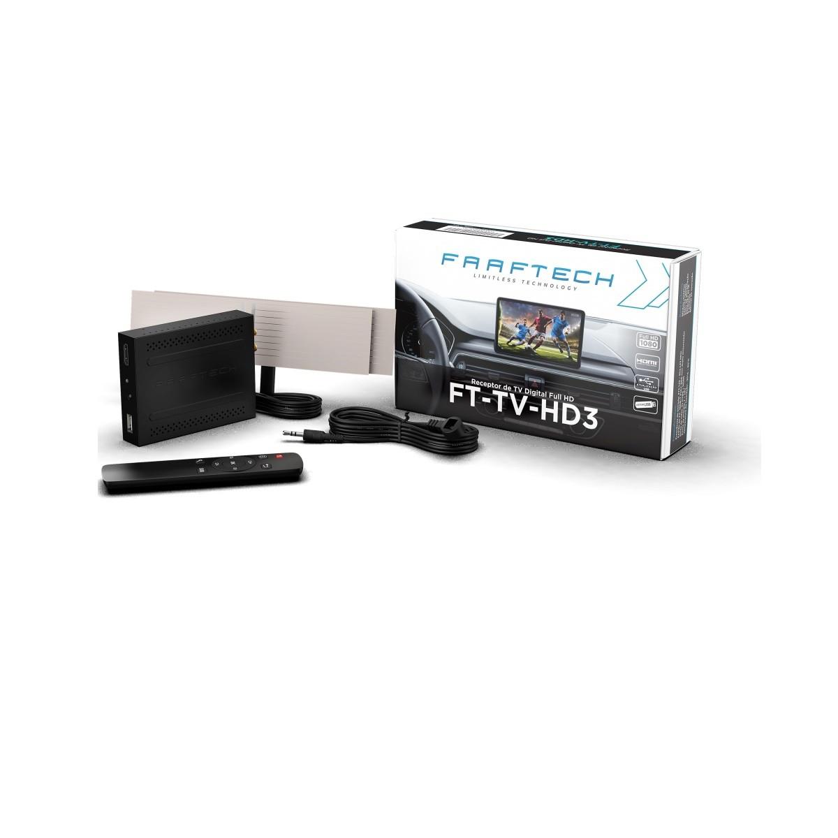 Receptor de TV Digital Automotivo Faaftech FT-TV-HD3 Full HD com Controle e HDMI