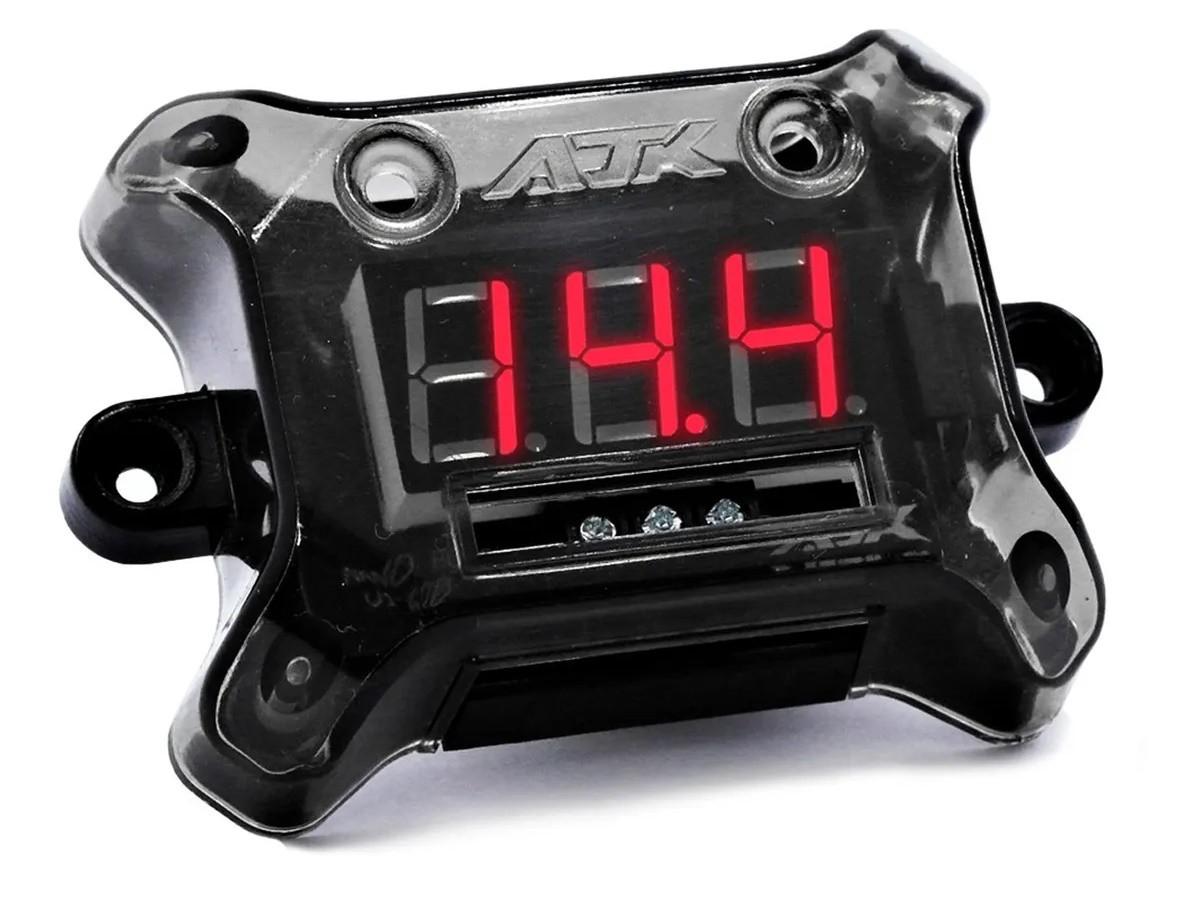 Voltímetro AJK Nano Black Leitura de 6 a 30 volts com Led Vermelho