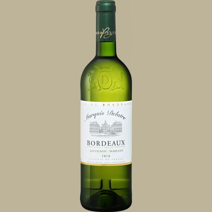 Vinho Marquis Delatre Bordeaux Sauvignon / Semillon 2018 Branco França 750 ml