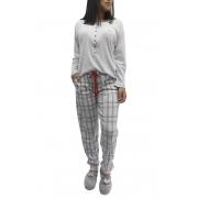 Pijama Feminino Longo Algodão Encorpado - Xadrez - Calça Slim com Punho - Foxx