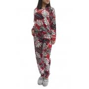 Pijama Feminino Manga Longa Viscolycra Modelo Slim com Punho na Calça - Foxx
