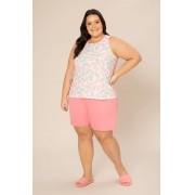 Pijama Feminino Regata Plus Size  com Bermuda Malha super Leve 100% Algodão -Pzama 090080