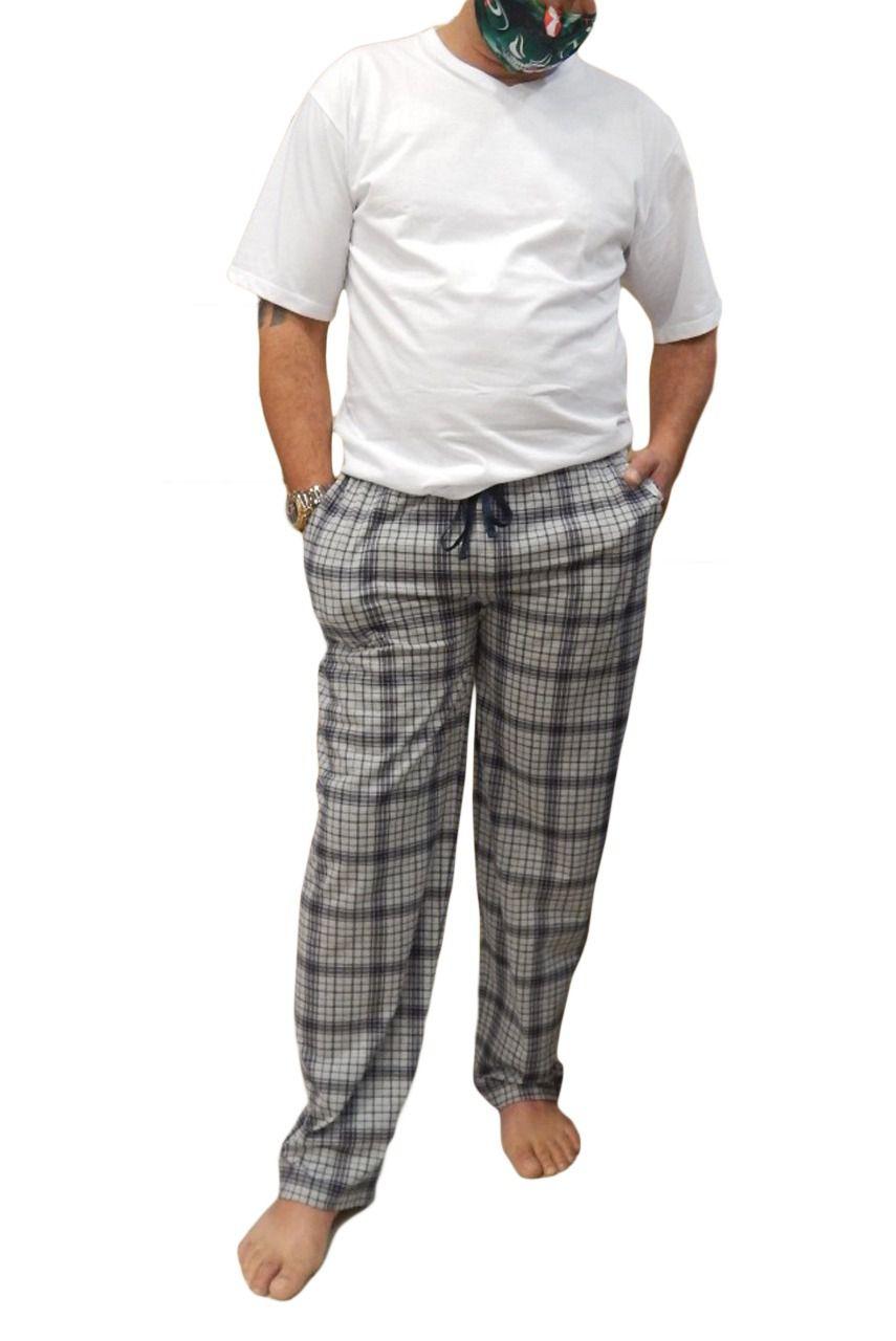 Calça Masculina Plus Size Xadrez de Algodão com cordão e bolso Foxx 263296