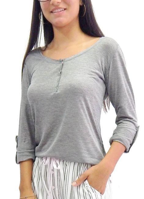 Camiseta Básica Feminina Manga Longa Foxx 262611