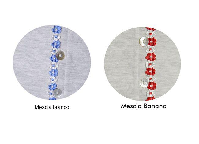 Camisola de Algodão Longa de Matelassê com Botões Foxx 262213